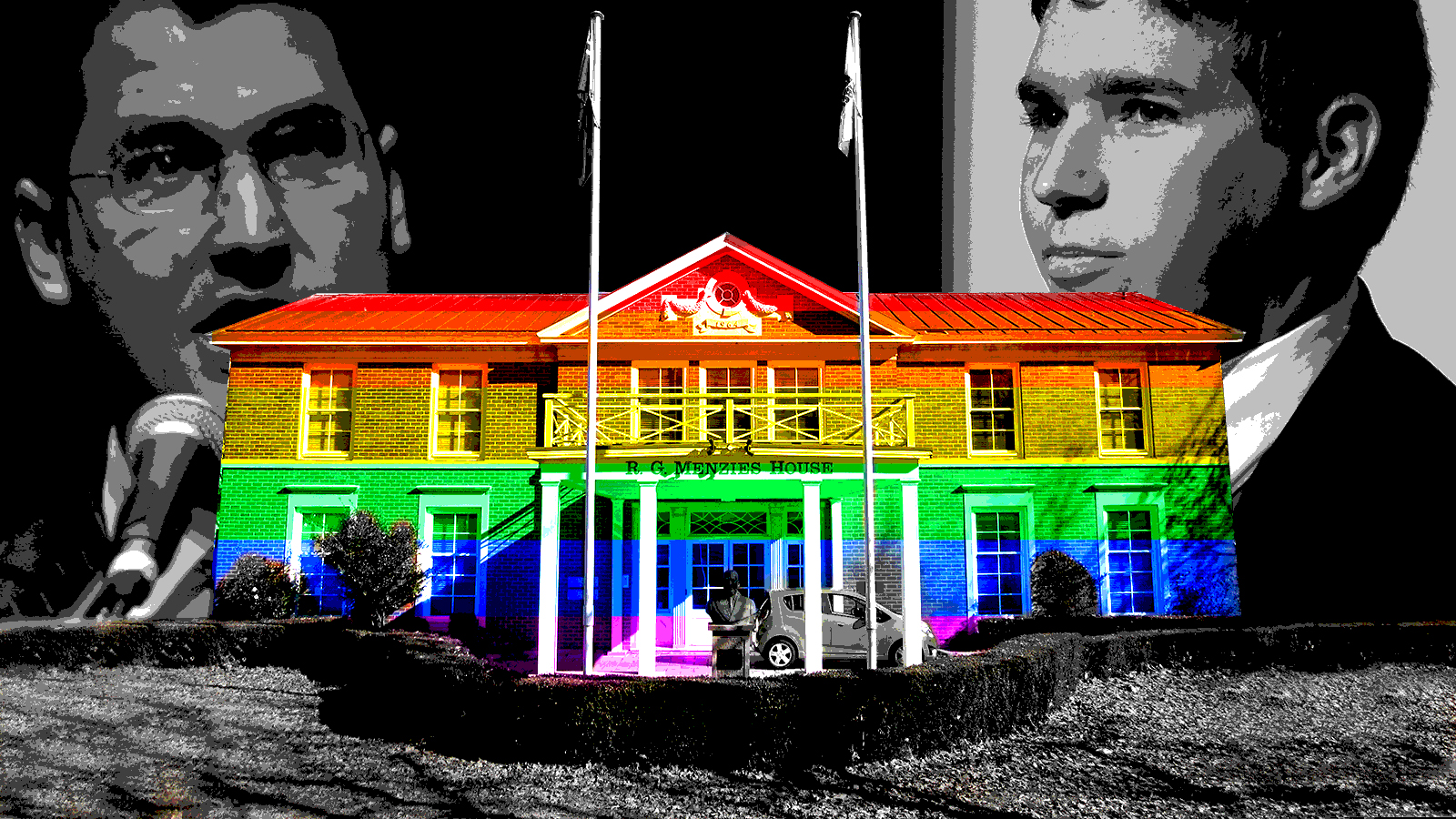 The Liberal Party National Headquarters (RG Menzies House) with a pride flag superimposed over it. The faces of Alistair Coe and Zed Seselja floating in the background.