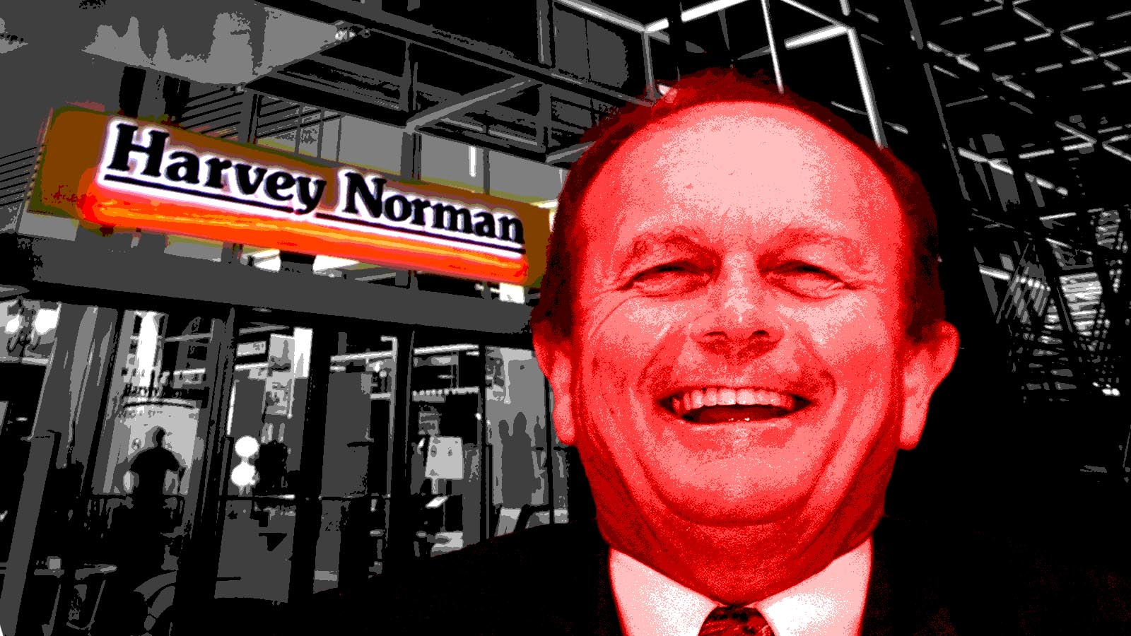 Gerry Harvey stands outside a Harvey Norman store